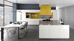 Кухня с остров МДФ бял и жълт цвят