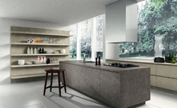 Кухня с облицовка технически камък