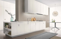 Раздвижена бяла кухня мдф мат